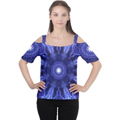 Tech Neon And Glow Backgrounds Psychedelic Art Women s Cutout Shoulder Tee