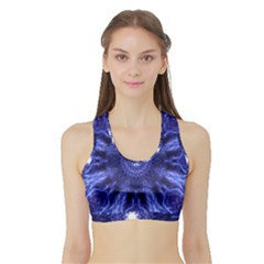 Tech Neon And Glow Backgrounds Psychedelic Art Sports Bra With Border