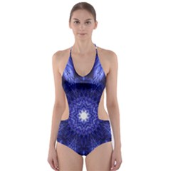 Tech Neon And Glow Backgrounds Psychedelic Art Cut Out One Piece Swimsuit