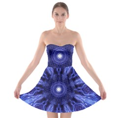 Tech Neon And Glow Backgrounds Psychedelic Art Strapless Bra Top Dress