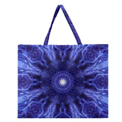 Tech Neon And Glow Backgrounds Psychedelic Art Zipper Large Tote Bag