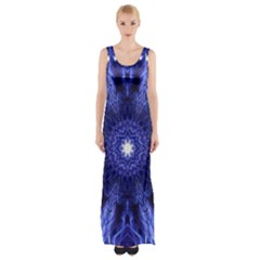 Tech Neon And Glow Backgrounds Psychedelic Art Maxi Thigh Split Dress