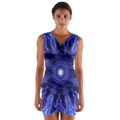 Tech Neon And Glow Backgrounds Psychedelic Art Wrap Front Bodycon Dress