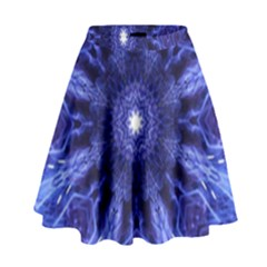 Tech Neon And Glow Backgrounds Psychedelic Art High Waist Skirt