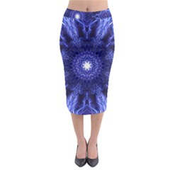 Tech Neon And Glow Backgrounds Psychedelic Art Midi Pencil Skirt