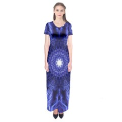 Tech Neon And Glow Backgrounds Psychedelic Art Short Sleeve Maxi Dress