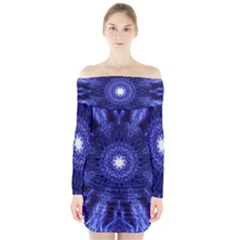 Tech Neon And Glow Backgrounds Psychedelic Art Long Sleeve Off Shoulder Dress