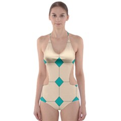 Tile Pattern Wallpaper Background Cut-Out One Piece Swimsuit