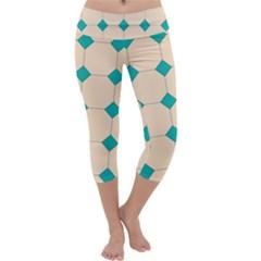 Tile Pattern Wallpaper Background Capri Yoga Leggings