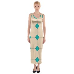 Tile Pattern Wallpaper Background Fitted Maxi Dress