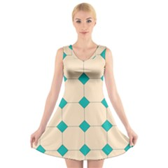Tile Pattern Wallpaper Background V Neck Sleeveless Skater Dress