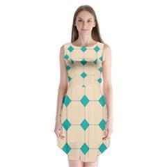Tile Pattern Wallpaper Background Sleeveless Chiffon Dress