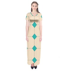 Tile Pattern Wallpaper Background Short Sleeve Maxi Dress