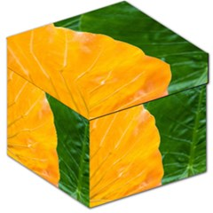 Wet Yellow And Green Leaves Abstract Pattern Storage Stool 12