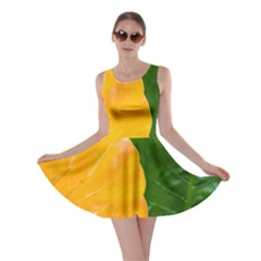 Wet Yellow And Green Leaves Abstract Pattern Skater Dress