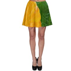 Wet Yellow And Green Leaves Abstract Pattern Skater Skirt