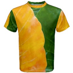Wet Yellow And Green Leaves Abstract Pattern Men s Cotton Tee