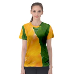 Wet Yellow And Green Leaves Abstract Pattern Women s Sport Mesh Tee