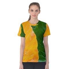 Wet Yellow And Green Leaves Abstract Pattern Women s Cotton Tee