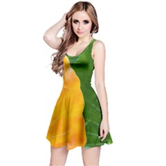 Wet Yellow And Green Leaves Abstract Pattern Reversible Sleeveless Dress