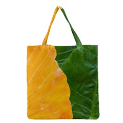 Wet Yellow And Green Leaves Abstract Pattern Grocery Tote Bag