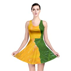 Wet Yellow And Green Leaves Abstract Pattern Reversible Skater Dress