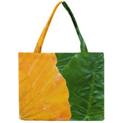Wet Yellow And Green Leaves Abstract Pattern Mini Tote Bag