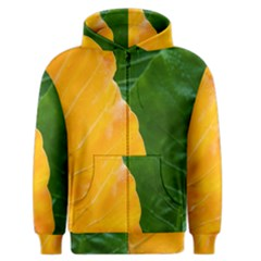 Wet Yellow And Green Leaves Abstract Pattern Men s Zipper Hoodie