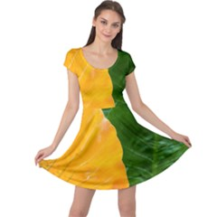 Wet Yellow And Green Leaves Abstract Pattern Cap Sleeve Dresses