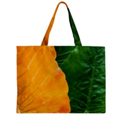 Wet Yellow And Green Leaves Abstract Pattern Zipper Mini Tote Bag