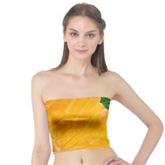 Wet Yellow And Green Leaves Abstract Pattern Tube Top