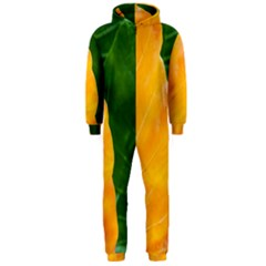 Wet Yellow And Green Leaves Abstract Pattern Hooded Jumpsuit (men)
