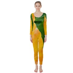 Wet Yellow And Green Leaves Abstract Pattern Long Sleeve Catsuit