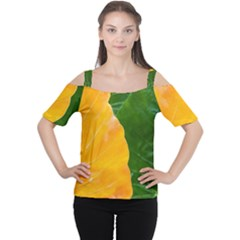 Wet Yellow And Green Leaves Abstract Pattern Women s Cutout Shoulder Tee