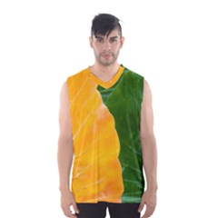 Wet Yellow And Green Leaves Abstract Pattern Men s Basketball Tank Top