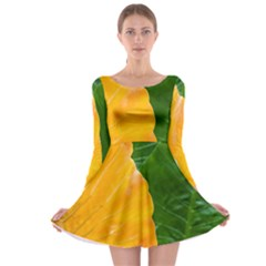 Wet Yellow And Green Leaves Abstract Pattern Long Sleeve Skater Dress