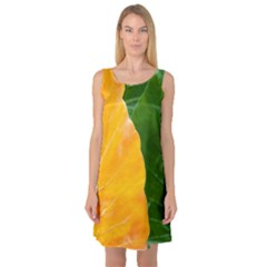 Wet Yellow And Green Leaves Abstract Pattern Sleeveless Satin Nightdress