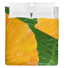 Wet Yellow And Green Leaves Abstract Pattern Duvet Cover Double Side (queen Size)