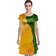 Wet Yellow And Green Leaves Abstract Pattern Cap Sleeve Nightdress