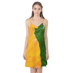 Wet Yellow And Green Leaves Abstract Pattern Camis Nightgown