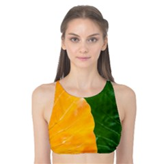 Wet Yellow And Green Leaves Abstract Pattern Tank Bikini Top