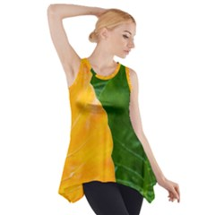 Wet Yellow And Green Leaves Abstract Pattern Side Drop Tank Tunic