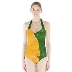 Wet Yellow And Green Leaves Abstract Pattern Halter Swimsuit