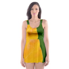 Wet Yellow And Green Leaves Abstract Pattern Skater Dress Swimsuit