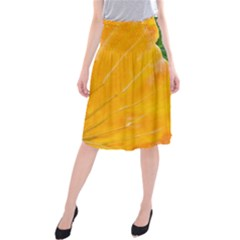 Wet Yellow And Green Leaves Abstract Pattern Midi Beach Skirt