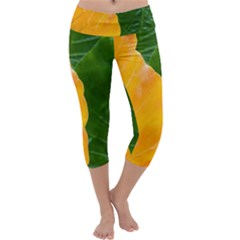 Wet Yellow And Green Leaves Abstract Pattern Capri Yoga Leggings