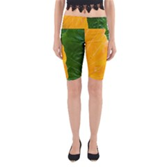 Wet Yellow And Green Leaves Abstract Pattern Yoga Cropped Leggings