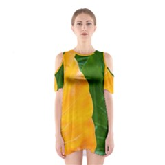 Wet Yellow And Green Leaves Abstract Pattern Shoulder Cutout One Piece