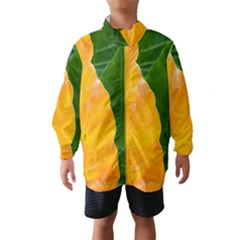 Wet Yellow And Green Leaves Abstract Pattern Wind Breaker (Kids)