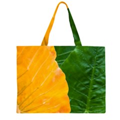 Wet Yellow And Green Leaves Abstract Pattern Large Tote Bag